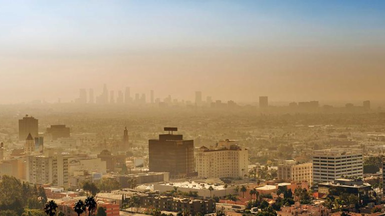 Yellow smog over a cityscape