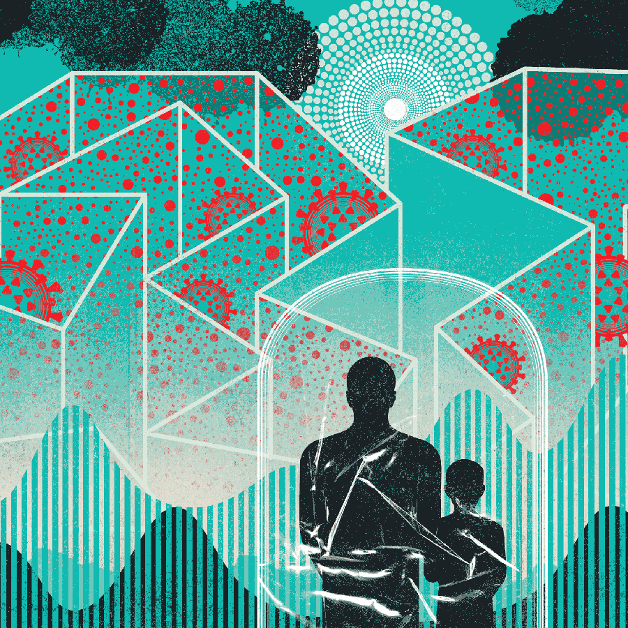 An illustration of a father and son looking back at a complex maze
