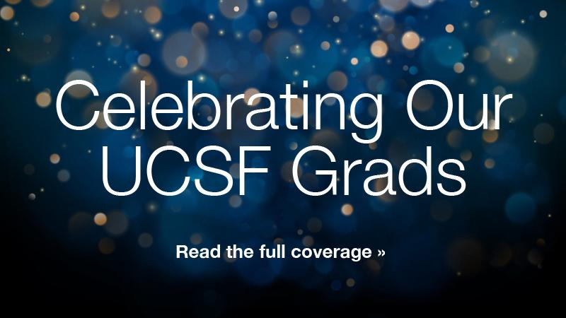 Celebrating our UCSF Grads read the full coverage over blue and gold background