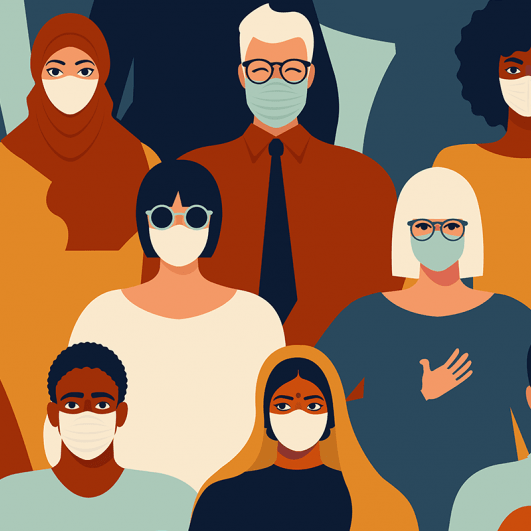 An illustration of a diverse crowd wearing masks