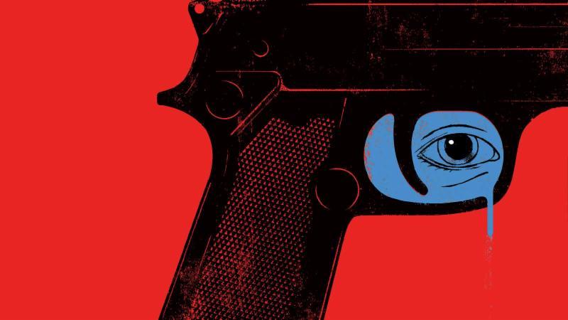 gun with crying eye