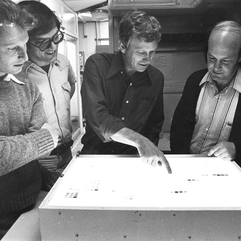 Bill Rutter and colleagues at the light table