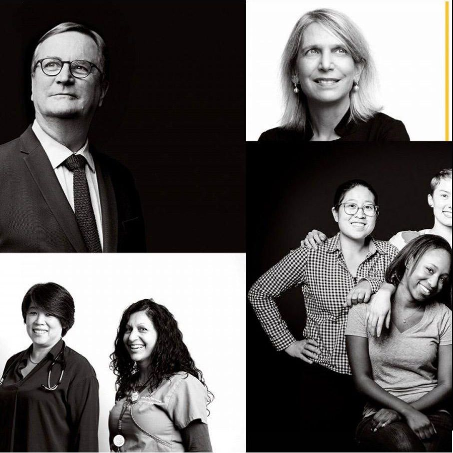 Collage of black white photos of UCSF faculty staff and leaders