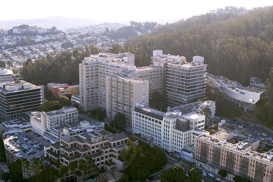 Aerial view of the Parnassus campus
