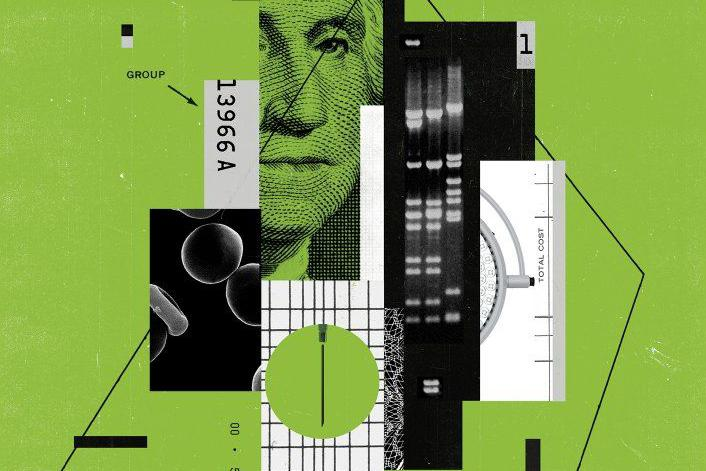 Collage of money and genetic data