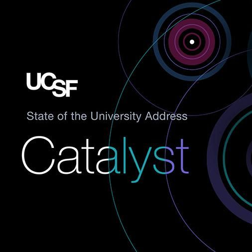 State of the University Address and Catalyst over an illustration of colorful ripples spreading outwards