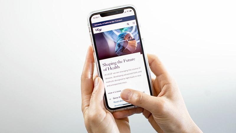Person holding phone with new website displayed