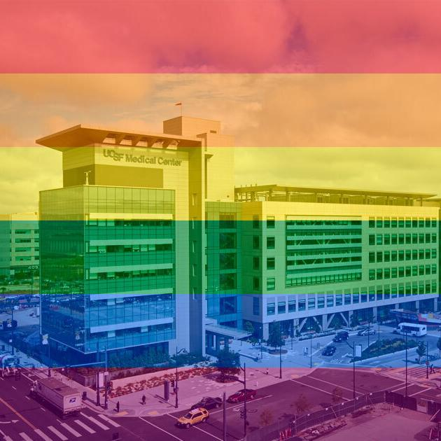 PRIDE flag overlay with UCSF hospital