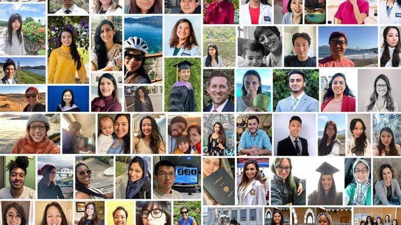 Giant collage of student portraits from class 2020