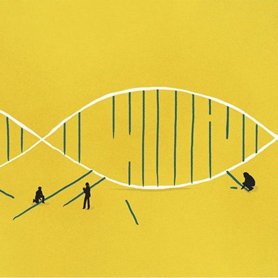 Illustration of people lifting new strands of DNA into a genome