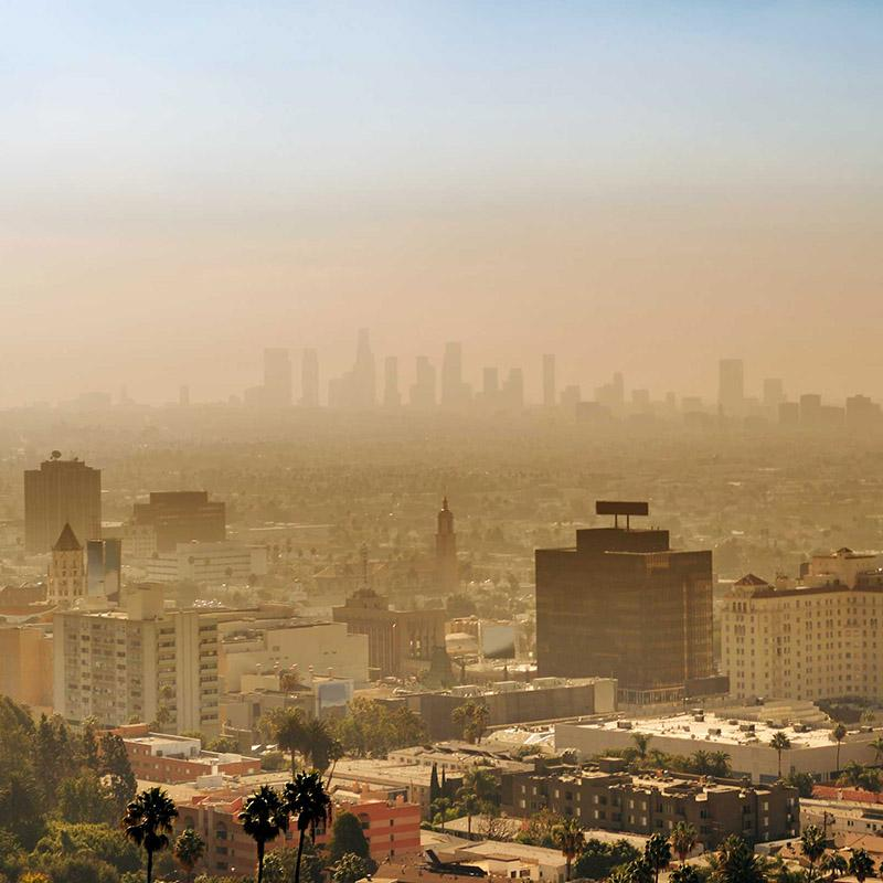 smog and pollution over a cityscape