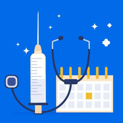 Illustration of a flu shot stethoscope and calendar