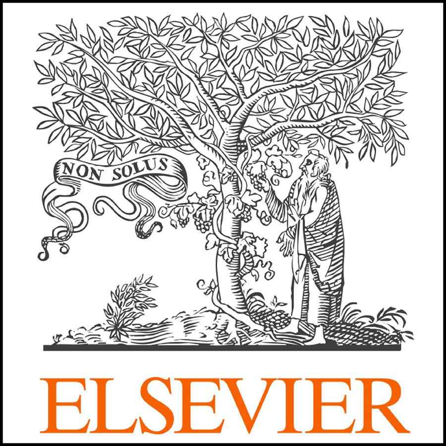 Elsevier logo with illustration of a scholar beneath a tree
