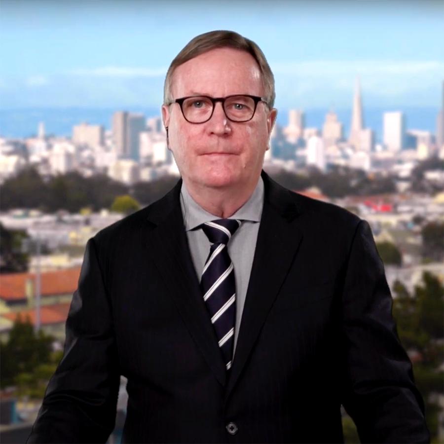 Sam Hawgood against a San Francisco backdrop