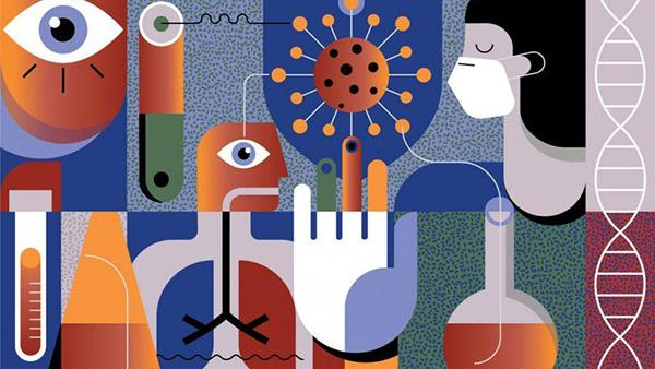 Illustration of research icons like test tubes and beakers