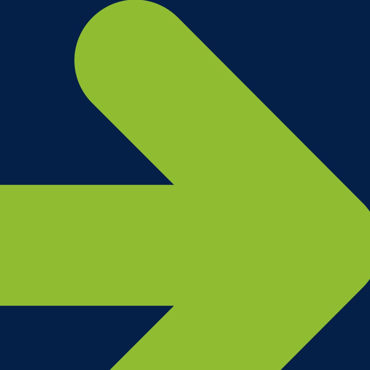 Green rightward facing arrow