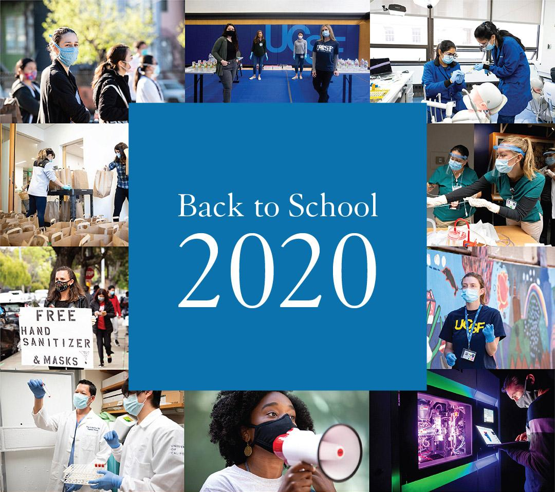 Back to school 2020 over a collage of student images