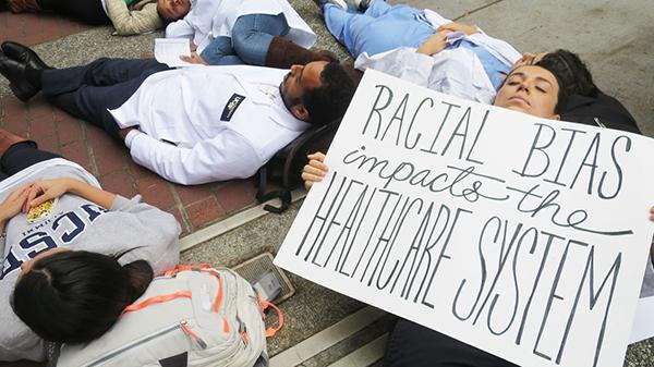 White Coats 4 Black Lives die-in