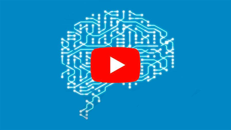 Illustration of a brain as a neural grid with a play button over it