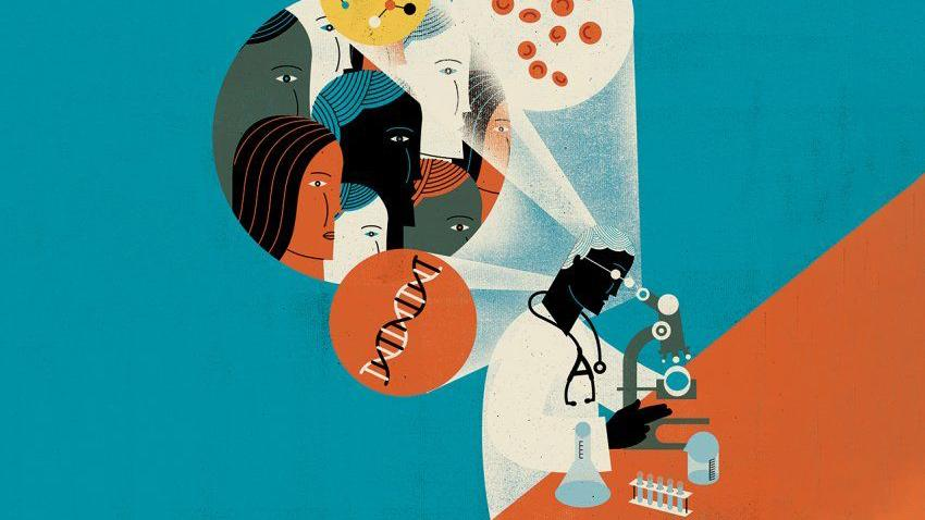 An illustration of a scientist looking into a microscope revealing DNA