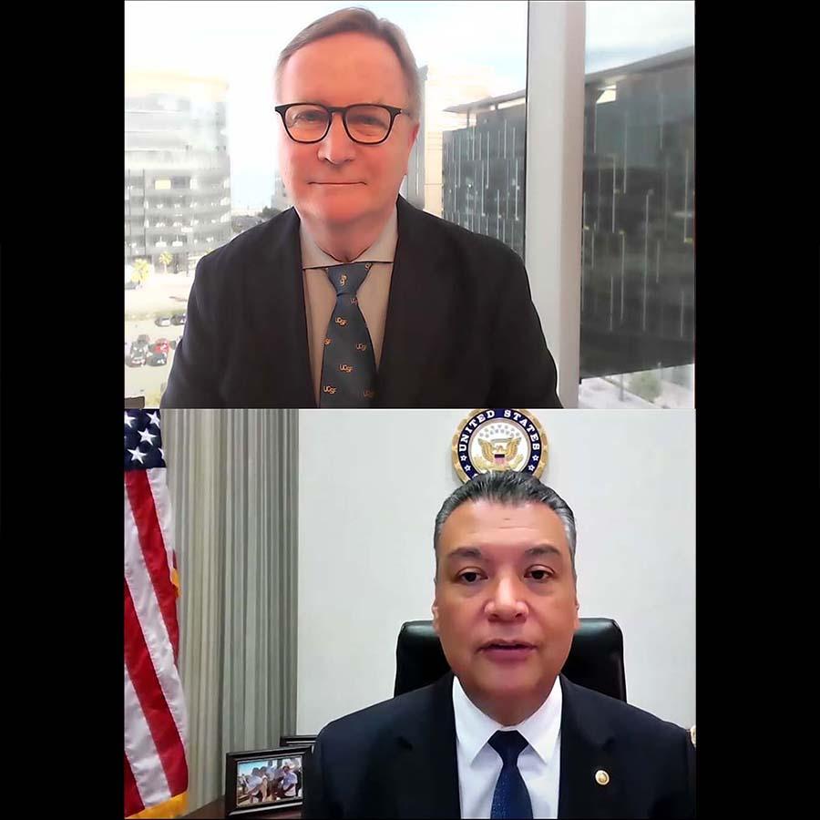 Senator Padilla with Chancellor Hawgood on Zoom
