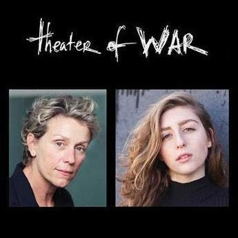 Theater of War written in script over a picture of Frances McDormand and Marjolaine Goldsmith