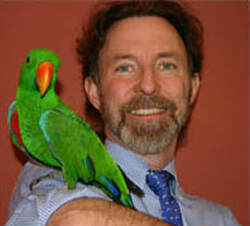 Rob Marshall and a male eclectus parrot