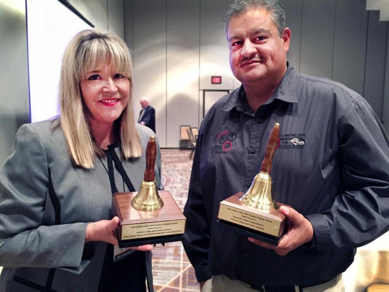 Golden Bell Award winners Kathy Prather and Cesar Gutierrez