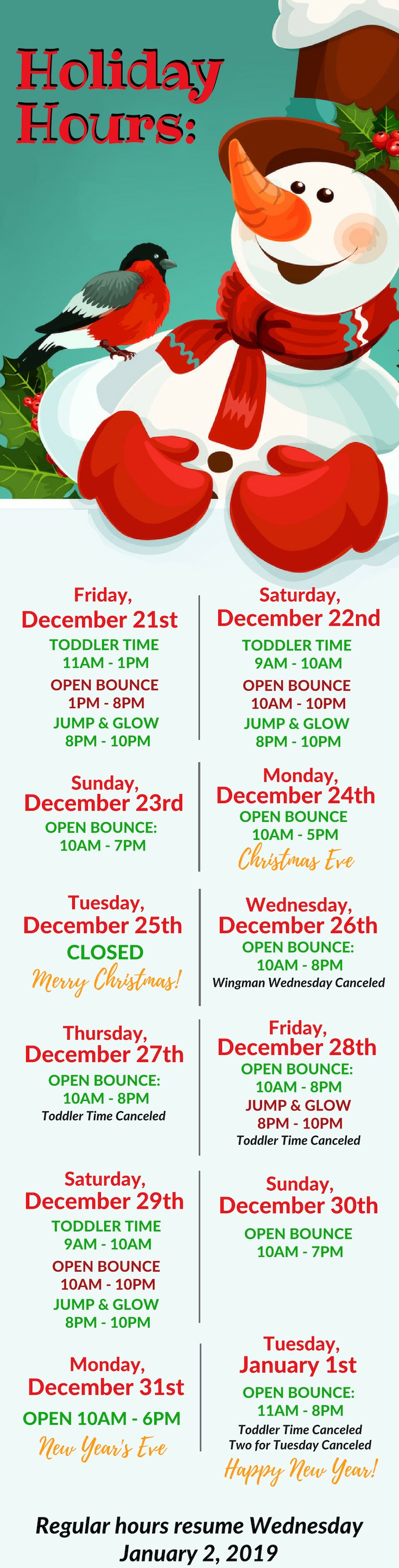 Open Christmas Eve, closed Christmas Day. Open New Year's Eve and New Year's Day!