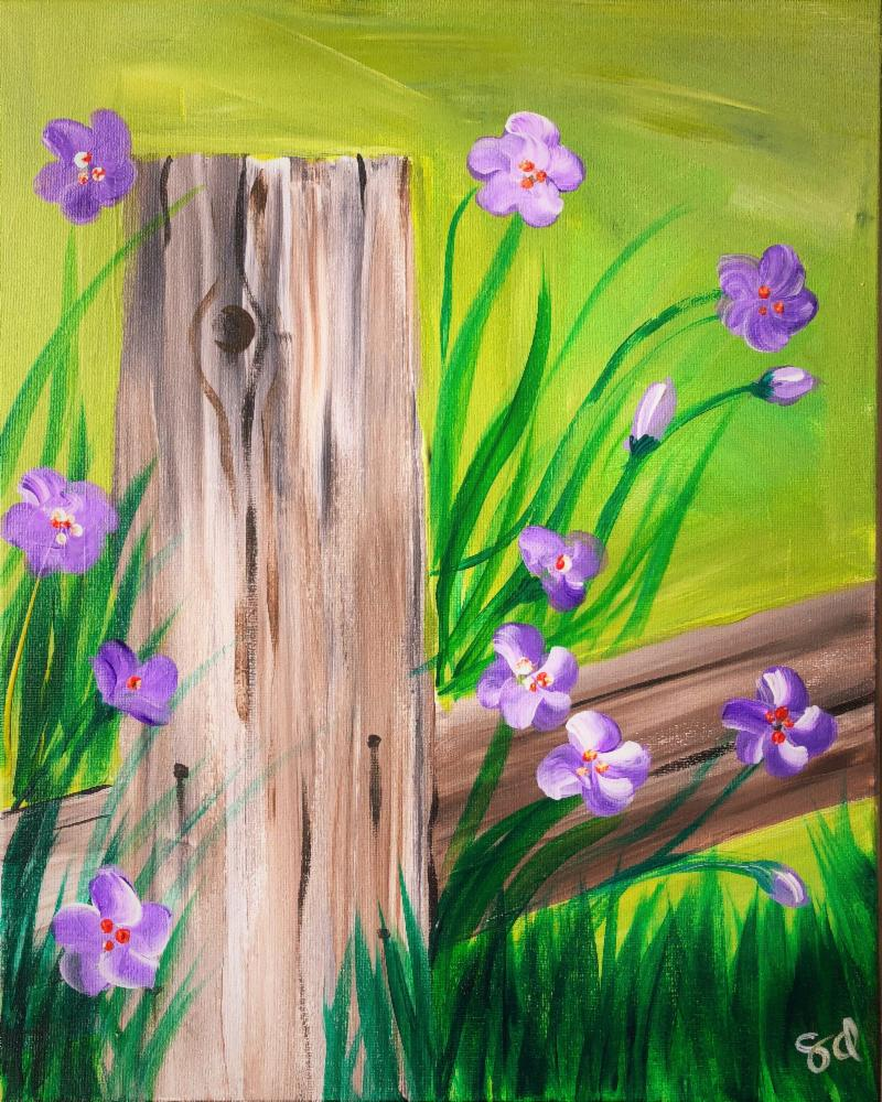 Fence and flowers painting