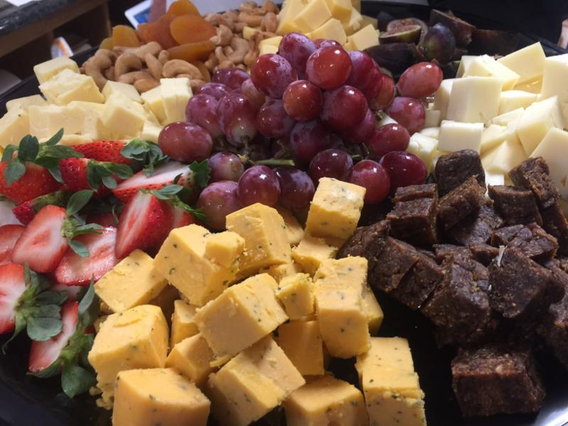 Cheese grapes platter