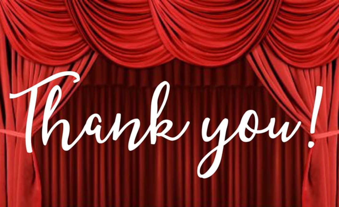 Thank you with stage curtain bkgd