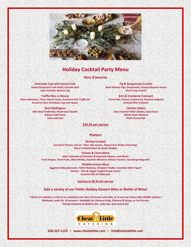 Cheat A Little Catering - Holiday Cocktail Party Menu