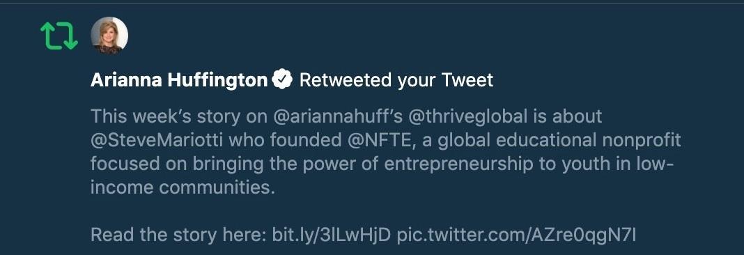 Arianna Huffington retweet