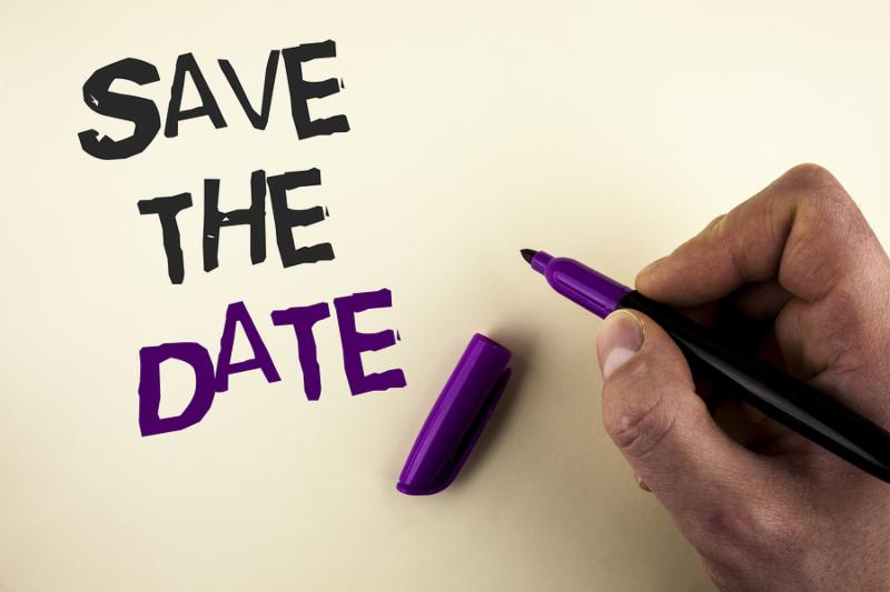 Conceptual hand writing showing Save The Date. Business photo showcasing Organizing events well make day special by event organizers written by Man plain background holding Marker in Hand.
