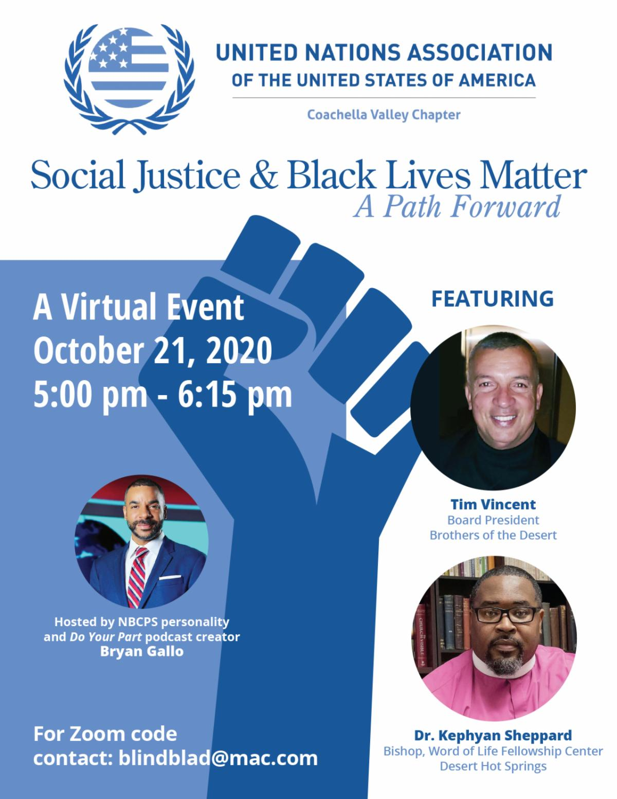 Virtual Event: Social Justice & Black Lives Matter - A Path forward presented by United Nations Assoc of the USA