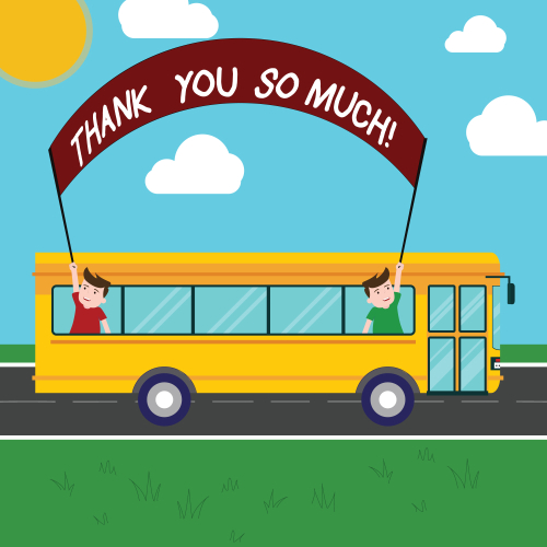 Handwriting text Thank You So Much. Concept meaning Expression of Gratitude Greetings of Appreciation Two Kids Inside School Bus Holding Out Banner with Stick on a Day Trip.