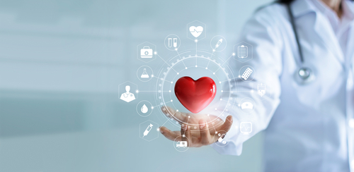 Medicine doctor holding red heart shape in hand with medical icon network connection modern virtual screen interface_ service mind and medical technology network concept