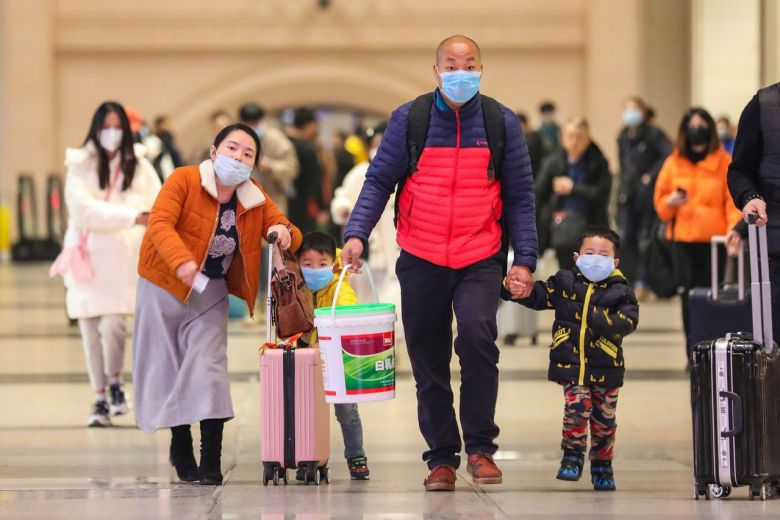 Chinese family traveling