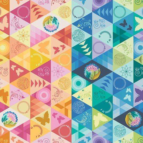 Butterflies and Geometrics Paradigm by Sarah Thomas for Hoffman Fabrics
