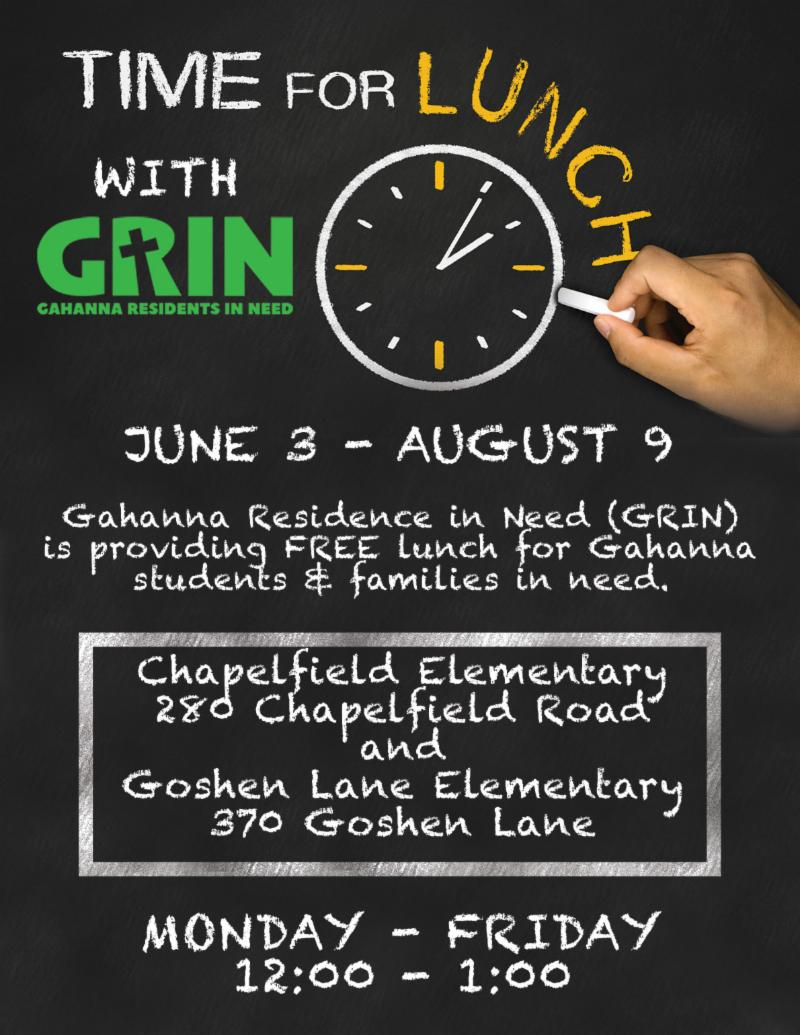 Information about GRIN Summer Lunch Program.