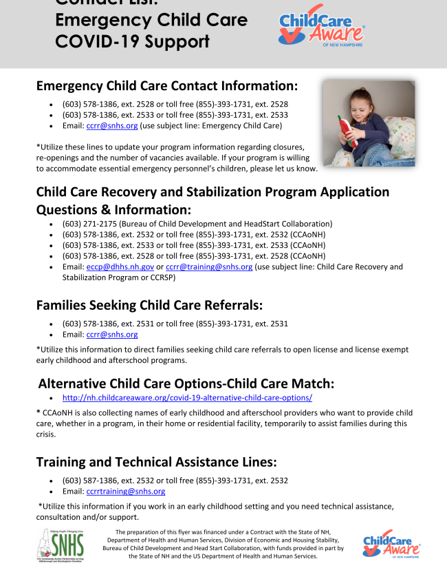 Emergency Child Care and Child Care Recovery and Stabilization Program Contact Information