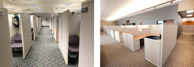 The Picture On The Left Shows The Original OEM Office Workspace. The  Picture On The Right Is The Remanufactured Office Workspace By Davies Office  Inc.