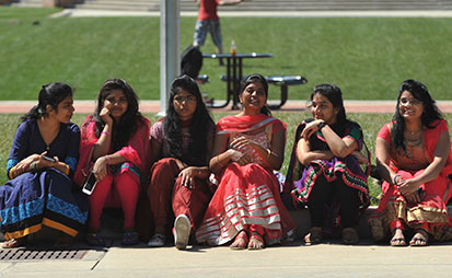 International students enjoying a spring day.