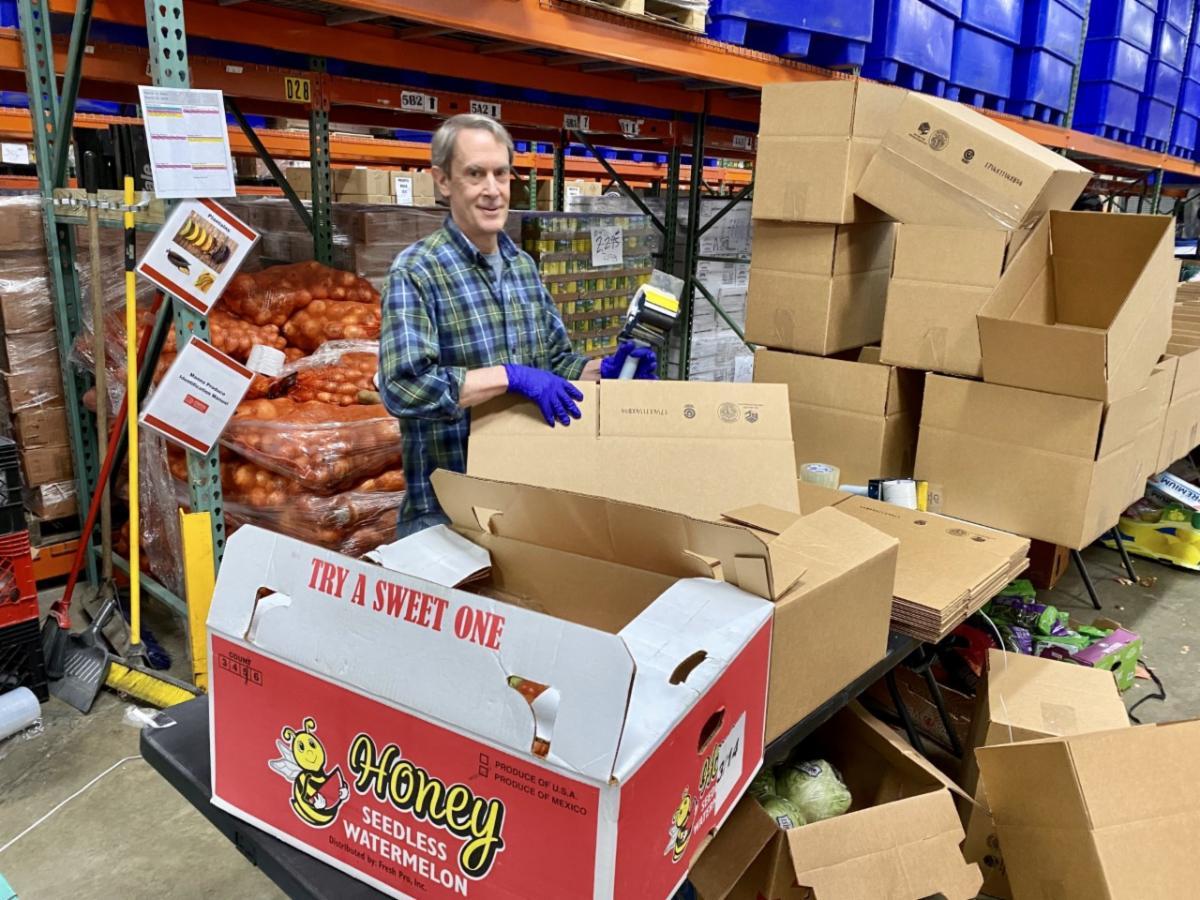 man packaging food