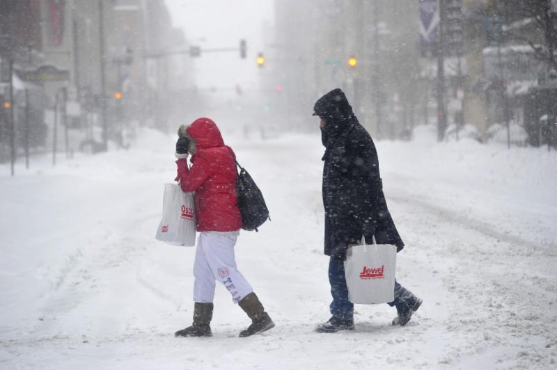 Walking in snow mother and child