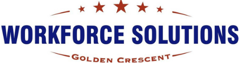 Workforce Solutions Golden Crescent in blue color with red stars