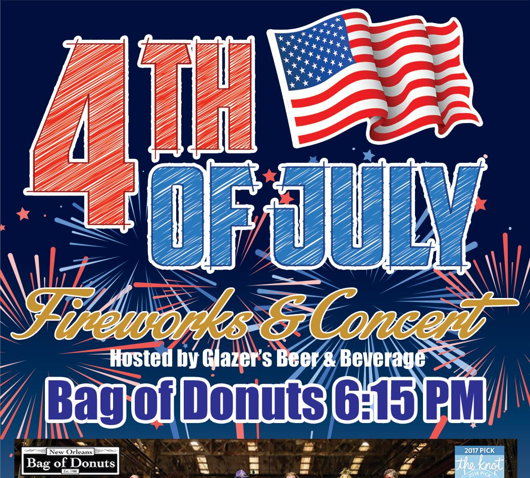 Flyer with American flag. Text reads Fourth of July Fireworks and Concert.