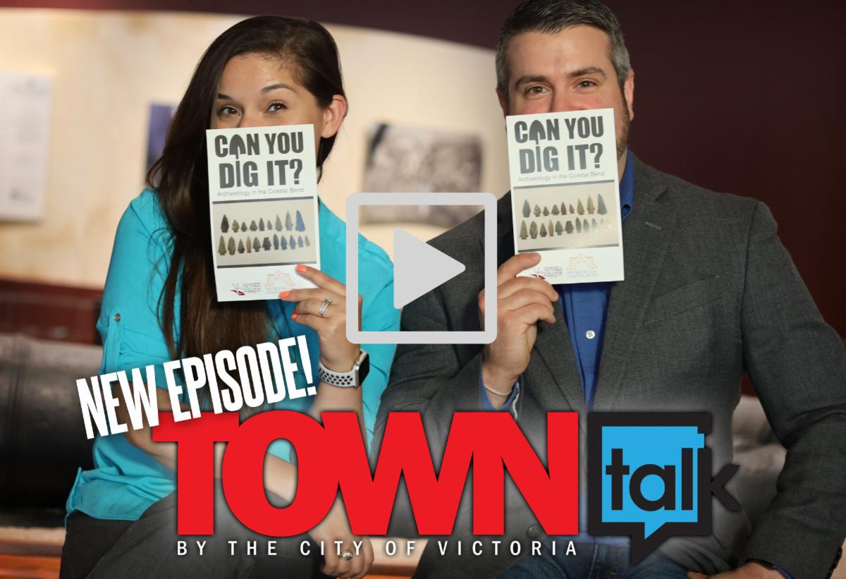 Two people hold flyers with text reading Can You Dig It. Logo overlay reads New Episode Town Talk By the City of Victoria. Play button is displayed.