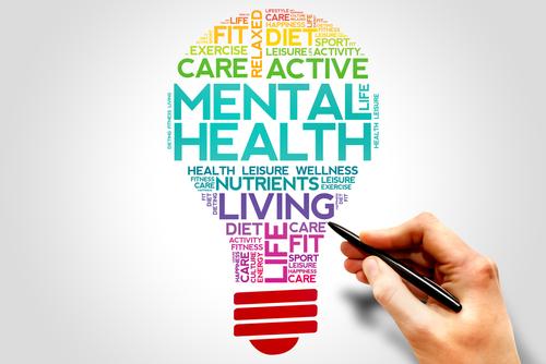 Mental health bulb word cloud_ health concept